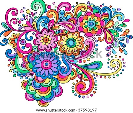 Hand-Drawn Psychedelic Abstract Groovy Henna Paisley Vector Illustration - stock vector