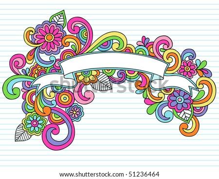Hand-Drawn Psychedelic Banner / Scroll Notebook Doodle Design Element on Lined Sketchbook Paper Background- Vector Illustration - stock vector