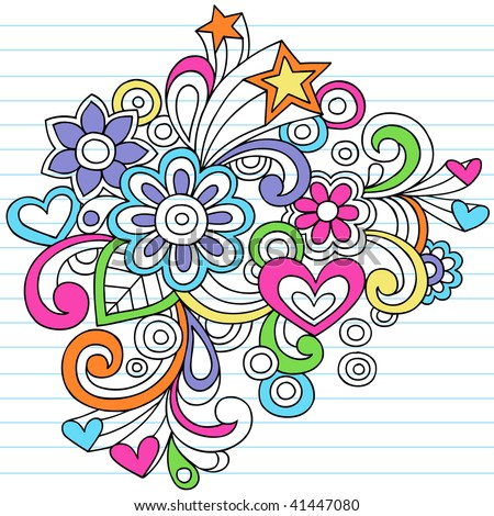 Hand-Drawn Psychedelic Doodles on Lined Notebook Paper Background- Vector Illustration - stock vector