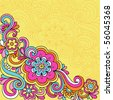 Hand-Drawn Psychedelic Groovy Flower and Swirls Notebook Doodles on Yellow Background- Vector Illustration - stock photo