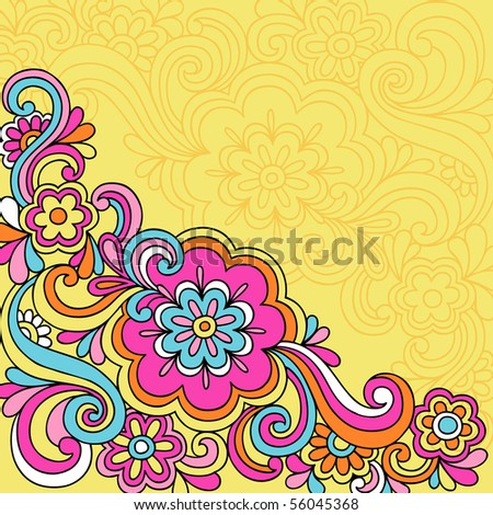 Hand-Drawn Psychedelic Groovy Flower and Swirls Notebook Doodles on Yellow Background- Vector Illustration - stock vector