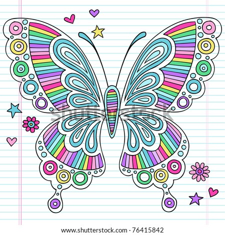 Hand-Drawn Psychedelic Groovy Notebook Doodle Butterfly and Design Elements Set on Lined Sketchbook Paper Background- Vector Illustration - stock vector