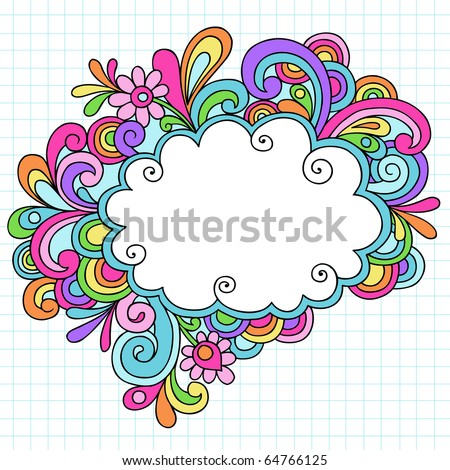 Hand-Drawn Psychedelic Groovy Notebook Doodle Cloud Speech Bubble Design Element on White Graph (Grid) Sketchbook Paper Background- Vector Illustration - stock vector