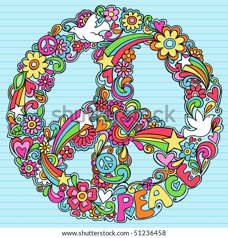Hand-Drawn Psychedelic Groovy Peace Sign and Dove Notebook Doodles on Lined Sketchbook Paper Background- Vector Illustration - stock vector
