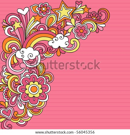 Hand-Drawn Psychedelic Groovy Rainbow and Stars Colored Notebook Doodles on Pink Lined Sketchbook Paper Background- Vector Illustration - stock vector