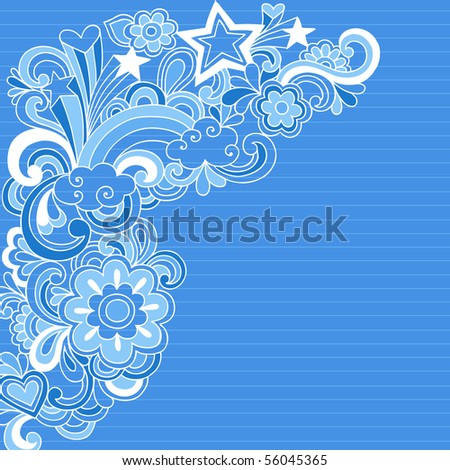 Hand-Drawn Psychedelic Groovy Rainbow and Stars Notebook Doodles on Blue Lined Sketchbook Paper Background- Vector Illustration - stock vector