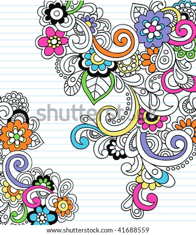 Hand-Drawn Psychedelic Paisley Notebook Doodles on Lined Paper Background- Vector Illustration - stock vector
