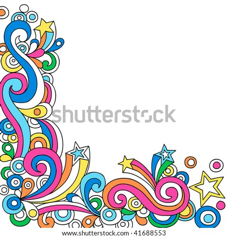 Hand-Drawn Psychedelic Star Notebook Doodles- Vector Illustration - stock vector