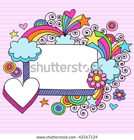 Hand-Drawn Psychedelic Stars, Rainbow, and Clouds Notebook Doodle Frame on Lined Paper Background- Vector Illustration - stock vector