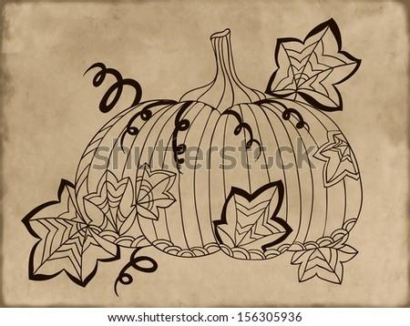 Hand-drawn pumpkin on vintage background. Vector illustration - stock vector