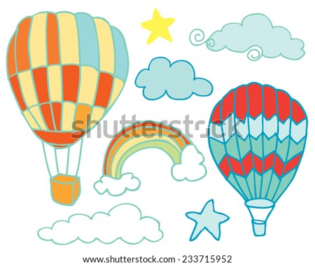 Hand Drawn Rainbow Sky and Hot Air Balloons - stock vector