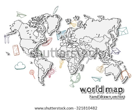Hand drawn realistic world map concept stock vector 321810482 hand drawn realistic world map concept with doodle icons gumiabroncs Choice Image
