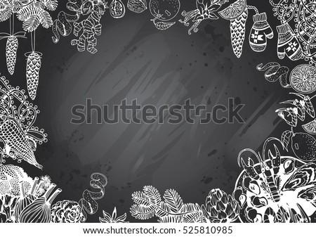 Hand Drawn Recipe Menu Background Gray Stock Vector 525810985