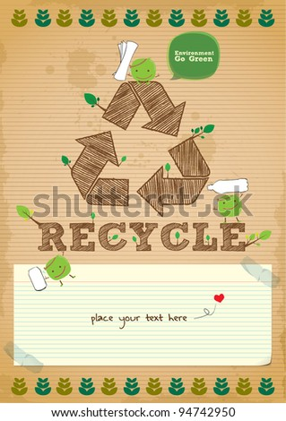 hand drawn recycling campaign promotion poster design - stock vector