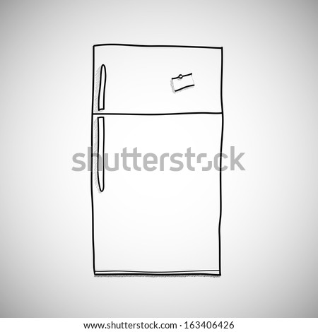 hand drawn refrigerator / vector cartoon, illustration isolated on white background. hand drawn, skecth style. - stock vector
