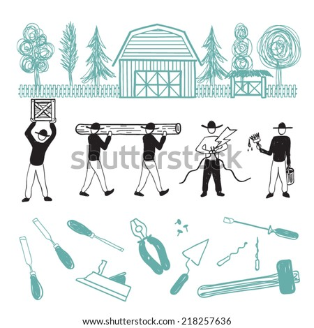 hand drawn repairer - stock vector
