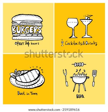 Hand drawn restaurant poster illustrations - vector - stock vector