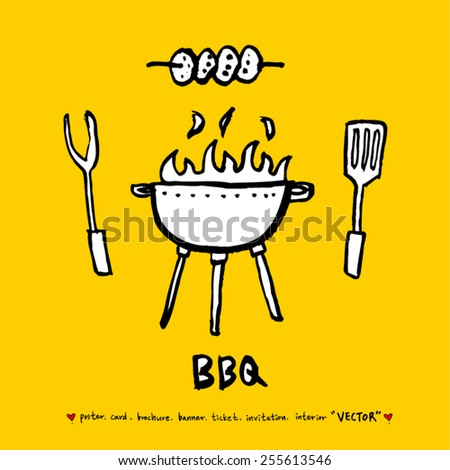 Hand drawn restaurant poster - vector - stock vector