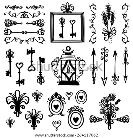 Hand drawn retro and vintage forged frame, floral, border, lantern, key, lily decoration items. Set of isolated rustic wedding decorative symbols and elements. Black outline sketch on white background - stock vector