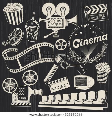 Hand-drawn Retro Cinema Illustrations in chalkboard Style - stock vector