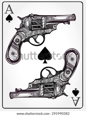 Hand drawn retro Gun Pistols Ace spades design in linear retro style. Vintage ornate detailed tattoo design element. Vector illustration isolated.Sign of luck, risk, adventure, winners gamble fortune. - stock vector