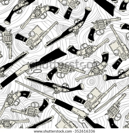 Hand drawn retro gun seamless pattern isolated on abstract background. Vector illustration - stock vector