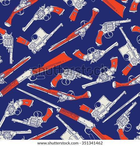 Hand drawn retro gun seamless pattern. Vector illustration - stock vector