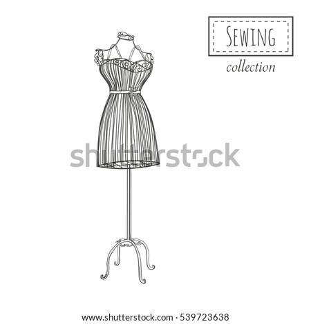 Hand Drawn Retro Mannequin Vector Template Stock Vector (Royalty ...