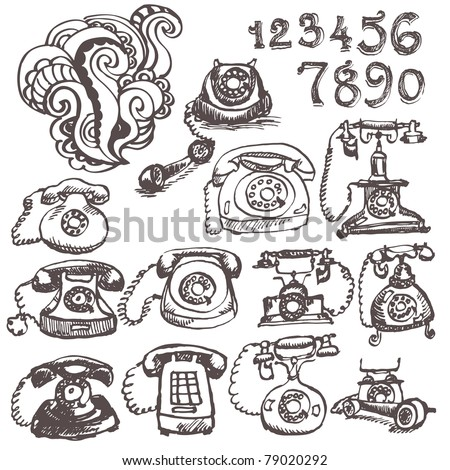 Hand drawn retro phone set - stock vector