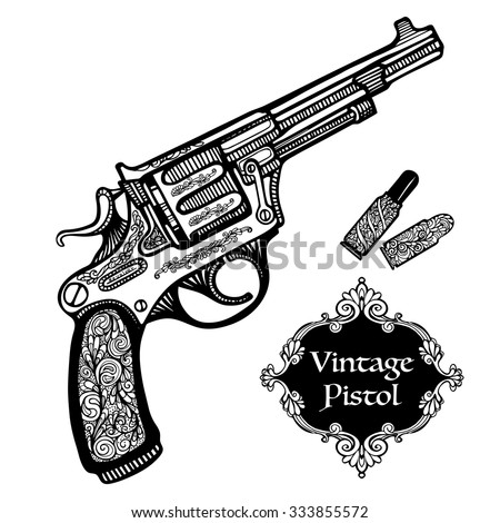 Hand drawn retro Pistols in vintage style with cartridges isolated  vector illustration  - stock vector