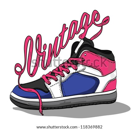 Hand drawn retro vintage shoes. Vector illustration. - stock vector