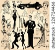 Hand drawn retro women and men of twenties, sketch, 20s, 30s - stock photo