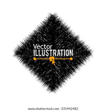 Hand Drawn Rhombus Banner. Triangle Sign. Vector Illustration. - stock vector
