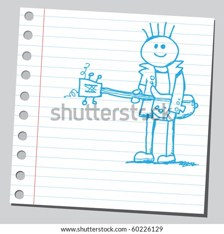 Hand drawn rock musician - stock vector