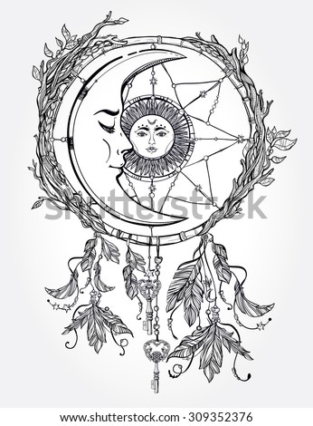 Hand drawn romantic beautiful drawing of a dream catcher adorned with feathers and leaves with sun and moon inside. Vector illustration isolated. Ethnic design, mystic tribal symbol for your use. - stock vector