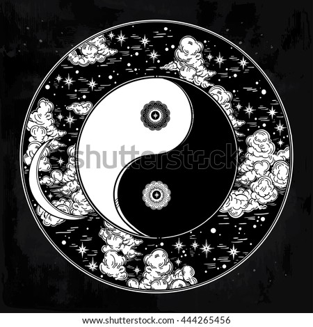 Hand drawn romantic beautiful round drawing of a night sky with Yin and Yang trendy boho symbol. Vector illustration isolated. Ethnic design, mystic sign for your use. - stock vector