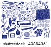 Hand drawn romantic doodles. Vector illustration. - stock vector