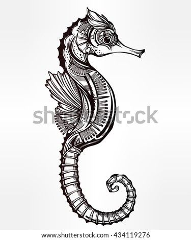 Seahorse tattoo stock images royalty free images for Cavalluccio marino maori