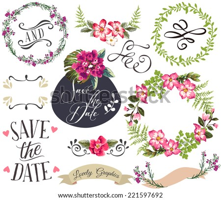 hand drawn romatic flower collection with wreath,arrow,frame,curl,banners - stock vector