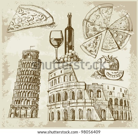 hand drawn Rome set - stock vector
