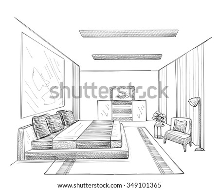 Hand drawn room interior sketch