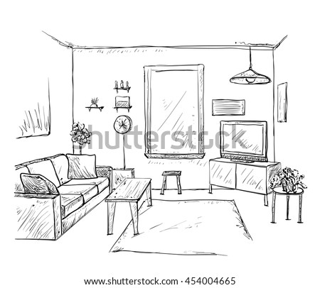 Hand Drawn Room Interior Sketch Furniture Stock Vector 454004665 ...