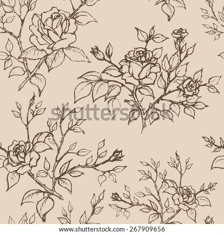 Hand drawn rose. Vintage style. Seamless pattern. Vector illustration. - stock vector