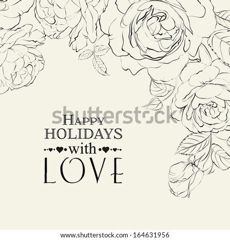 Hand drawn roses. - stock vector