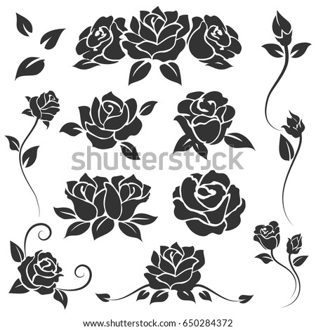 Hand Drawn Roses Isolated On White Stock Vector Shutterstock - Engraving templates