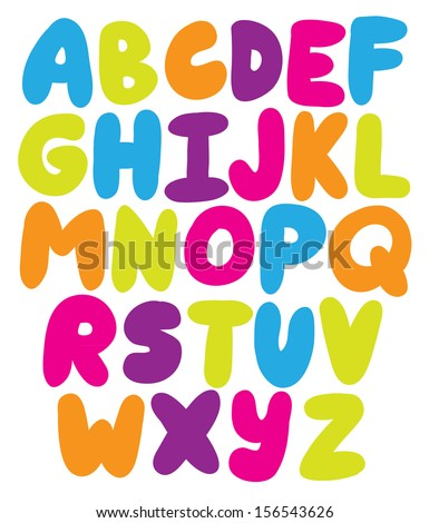 Hand drawn rounded alphabet ABS letters - vector - stock vector