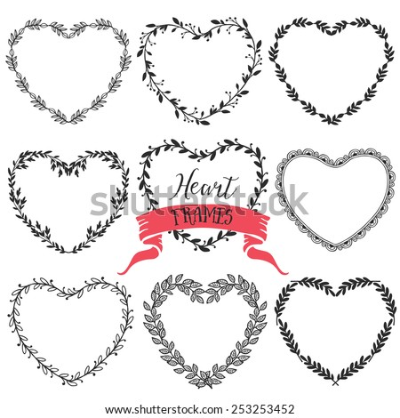 Hand drawn rustic vintage heart wreaths. Floral vector graphic. Nature design elements - stock vector