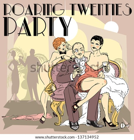 Hand drawn 1920s stylized illustration, rich man with two nude flapper girls sitting on a sofa, Party Invitation design, Vector version - stock vector