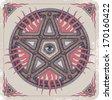 Hand-drawn sacred pentagram. - stock vector