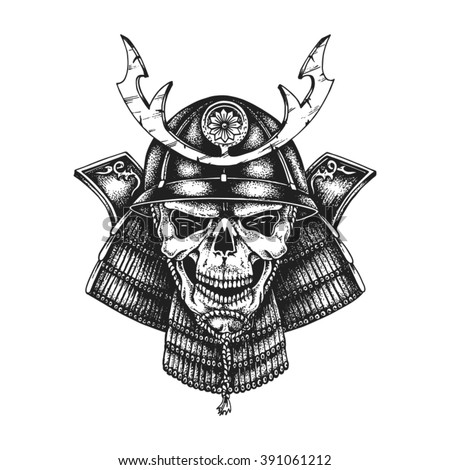 Hand drawn samurai skull wearing kabuto helmet. Vector illustration